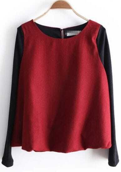 Red Round Neck Long Sleeve Zipper Blouse