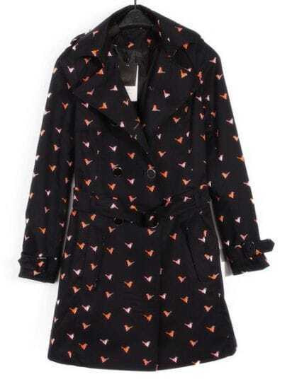 Navy Lapel Long Sleeve Birds Print Drawstring Trench Coat