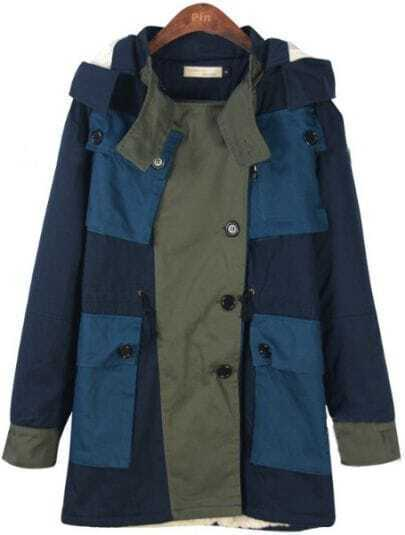 Navy Hooded Long Sleeve Pockets Buttons Coat