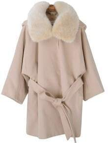 Apricot Fur Hooded Long Sleeve Drawstring Loose Coat