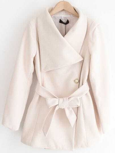 White Lapel Long Sleeve Drawstring Buttons Coat