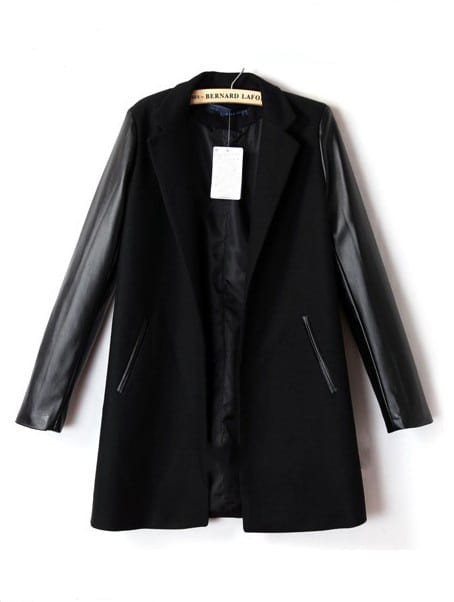 Black Lapel Contrast PU Leather Long Sleeve Coat -SheIn(Sheinside)