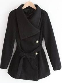 Black Lapel Long Sleeve Drawstring Buttons Coat