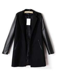 Black Lapel Contrast PU Leather Long Sleeve Coat