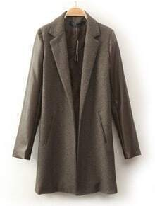Brown Lapel Contrast PU Leather Long Sleeve Coat