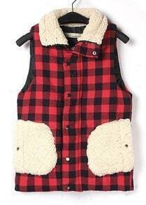 Red High Neck Sleeveless Plaid Vest Coat