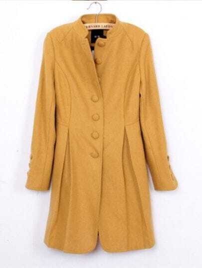 Yellow High Neck Long Sleeve Buttons Embroidery Coat