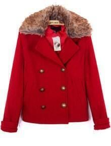 Red Fur Lapel Long Sleeve Buttons Pockets Coat