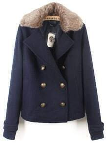 Navy Fur Lapel Long Sleeve Buttons Pockets Coat