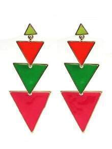 Red Green Triangle Connection Gold Stud Earrings