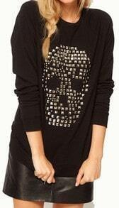 Black Long Sleeve Rivet Skull Rhinestone Sweatshirt