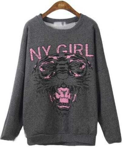 Dark Grey Round Neck Long Sleeve Tiger Print Sweatshirt