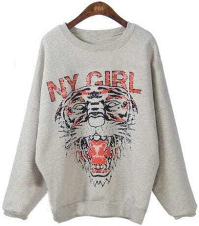 Light Grey Round Neck NY GIRL Tiger Print Sweatshirt