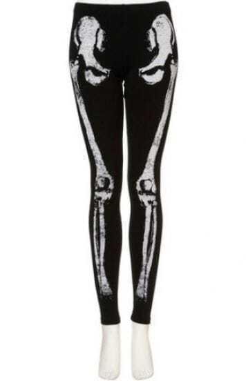 Black Skeleton Print Rhinestone Elasic Leggings