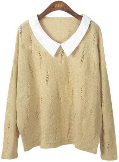 Apricot Lapel Long Sleeve Hollow Ripped Sweater