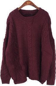 Wine Red Long Sleeve Batwing Loose Pullovers Sweater