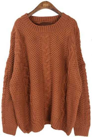 Coffee Long Sleeve Batwing Loose Pullovers Sweater