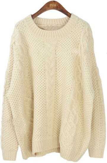 Beige Long Sleeve Batwing Loose Pullovers Sweater