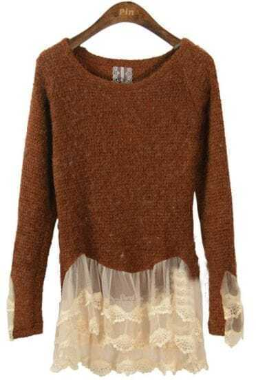 Coffee Long Sleeve Contrast Lace Ruffles Sweater
