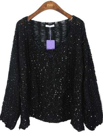Black Batwing Long Sleeve Hollow Sequined Sweater
