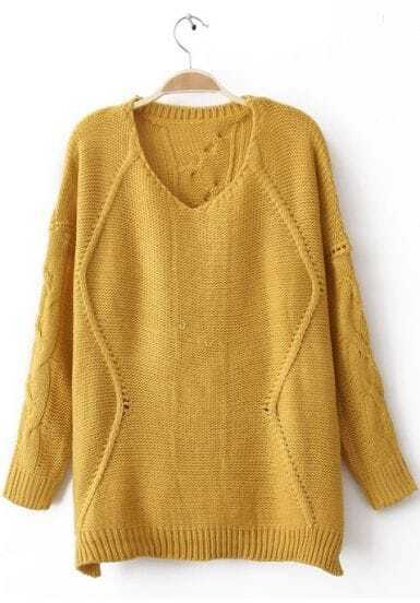 Yellow Round Neck Long Sleeve Asymmetrical Sweater