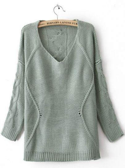 Blue Round Neck Long Sleeve Asymmetrical Sweater
