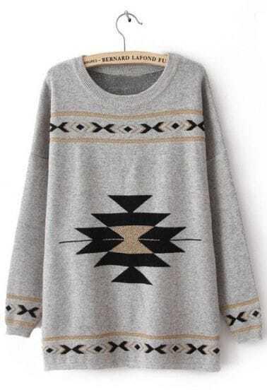 Grey Round Neck Long Sleeve Geometric Print Sweater