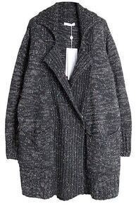Grey Lapel Long Sleeve Pockets Cardigan Sweater