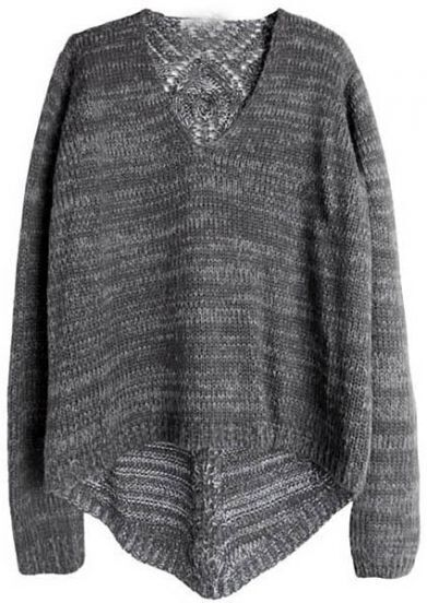 Dark Grey Long Sleeve Back Hollow Pullovers Sweater