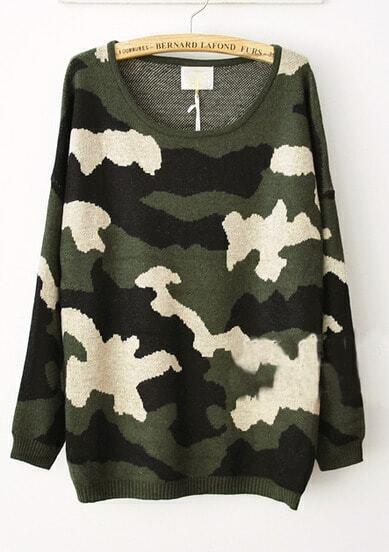 Green Camouflage Round Neck Oversized Knitted Sweater