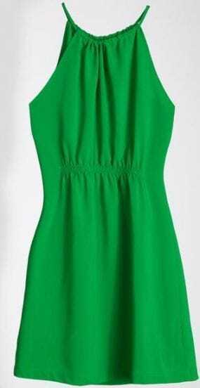 Green Halter Pleated Blouson Cool Dress