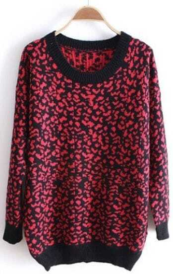 Rose Red Leopard Long Sleeve Loose Pullovers Sweater