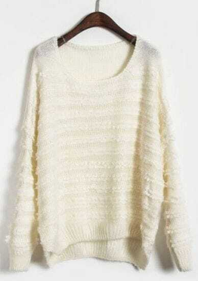 White Long Sleeve Stereoscopic Striped Pullovers Sweater