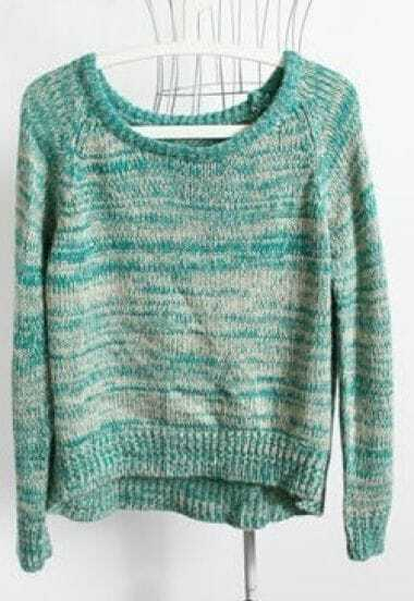Green Long Sleeve Back Pleated Pullovers Sweater