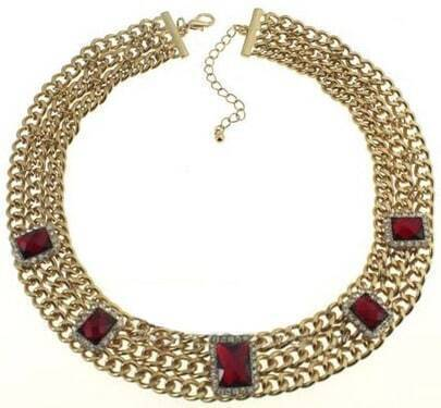 Red Gemstone Gold Chain Necklace
