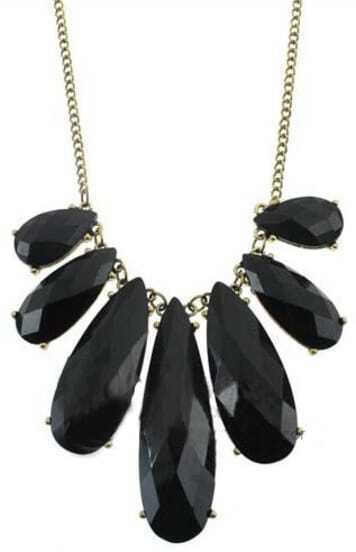 Black Gemstone Gold Long Necklace