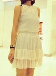 White Round Neck Sleeveless Cascading Ruffle Chiffon Dress