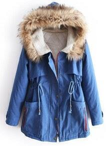 Blue Fur Hooded Long Sleeve Drawstring Pockets Coat