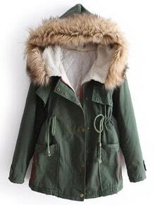 Green Fur Hooded Long Sleeve Drawstring Pockets Coat