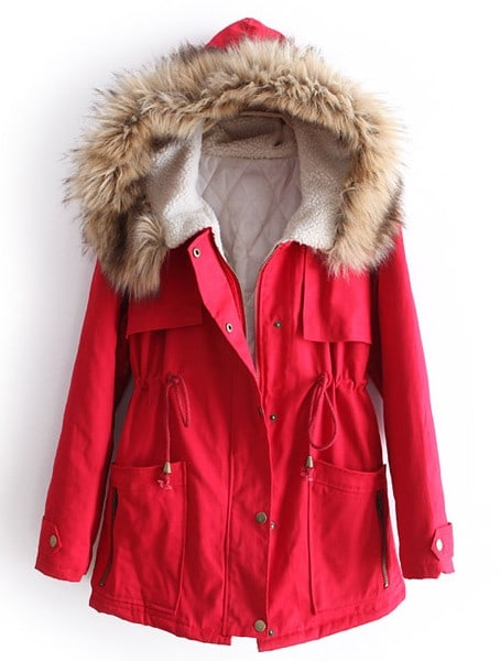 Red Fur Hooded Long Sleeve Drawstring Pockets Coat -SheIn(Sheinside)