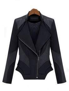 Black Long Sleeve Contrast PU Leather Zipper Jacket