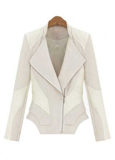White Long Sleeve Contrast PU Leather Zipper Jacket