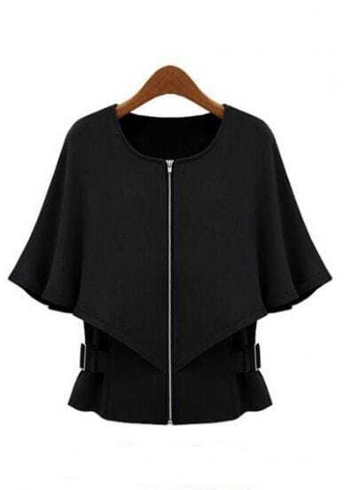 Black Half Sleeve Zipper Crop Cape Coat