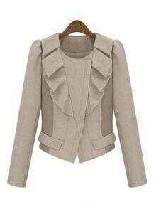 Beige Long Sleeve Ruffles Zipper Crop Coat