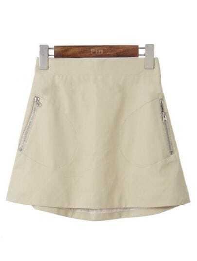Beige Zipper Pockets A Line PU Leather Skirt