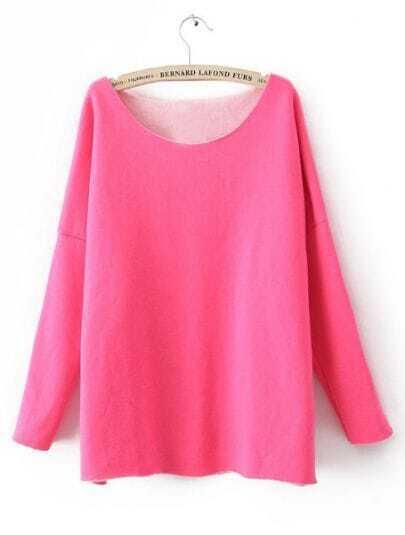 Rose Red Round Neck Long Sleeve Loose Sweatshirt