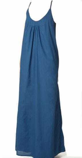 Blue Cotton Spaghetti Strap Full-Length Dress