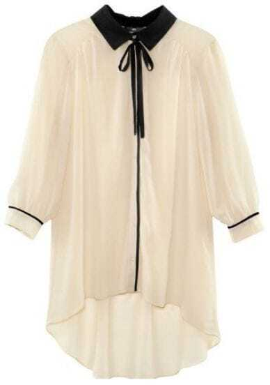 White Contrast Lapel Half Sleeve Asymmetrical Blouse