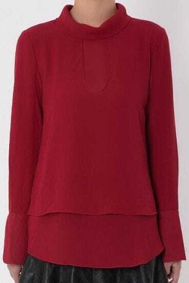 Wine Red High Neck Long Sleeve Cuff Split Cape Blouse