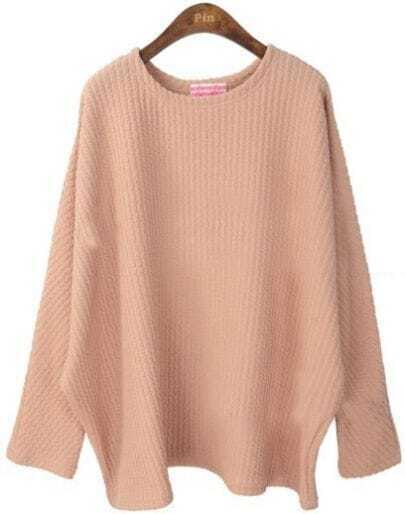 Nude Batwing Long Sleeve Loose Pullovers Sweater